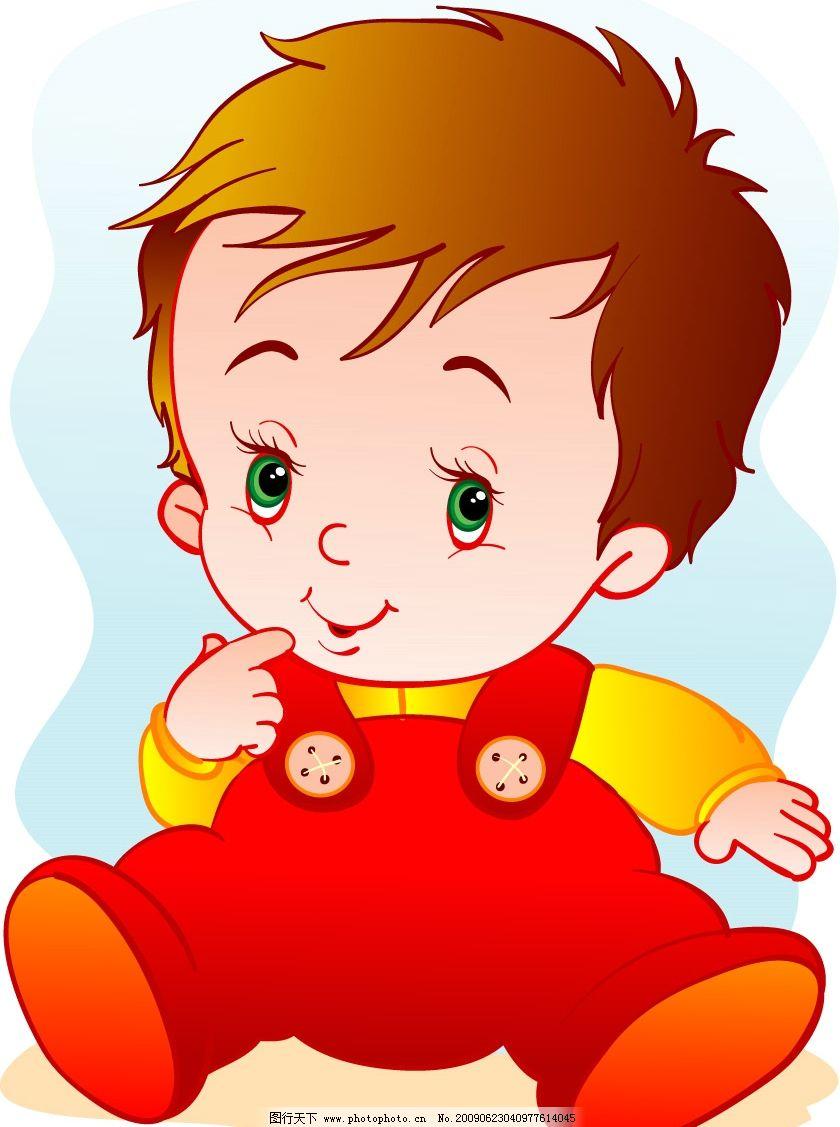 小男孩 红色 可爱 其他矢量 矢量素材 矢量图库 矢量人物 儿童幼儿