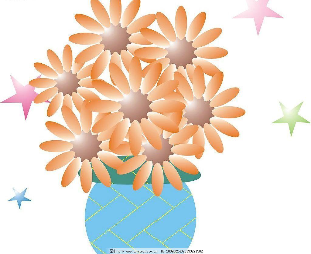 向日葵 花 花瓶 星星 生物世界 花草 矢量图库 cdr