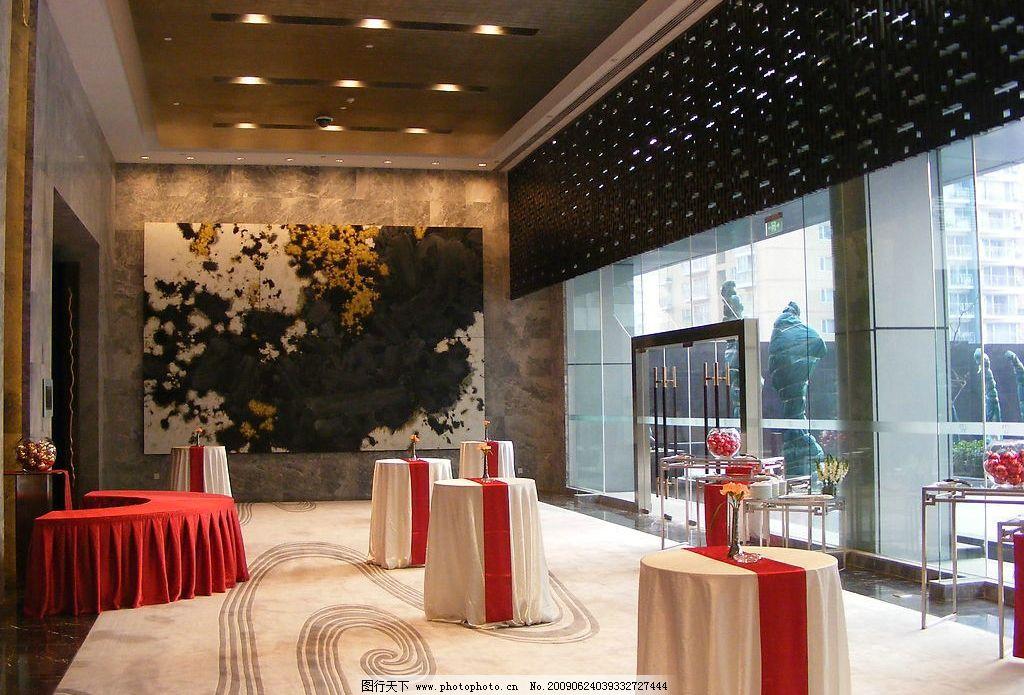 逸林酒店 酒店 宴会厅 等候区 抽象壁画 中式窗格 艺术地毯 摆台 室内