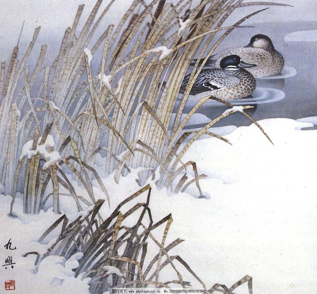 鸳鸯戏水 中国工笔画 水 鸳鸯 芦苇 书法 文化艺术 绘画书法 设计图库