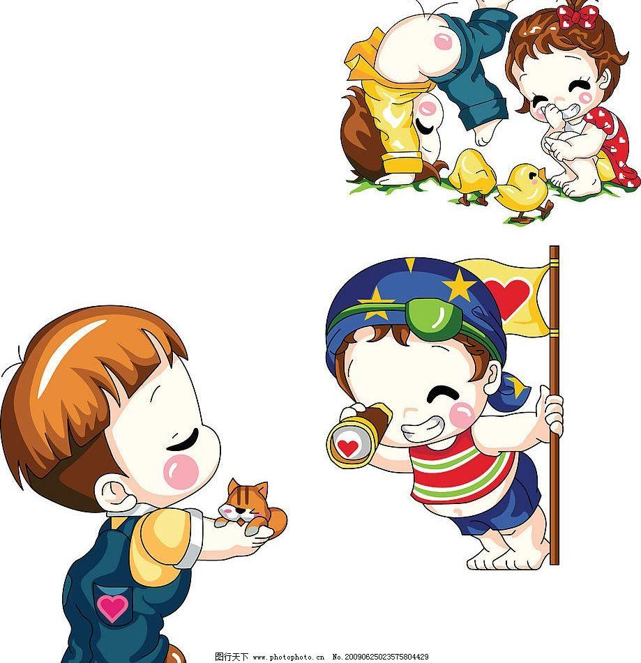 小人 可爱 小孩 儿童 海盗 猫 小女孩 鸡 矢量人物 儿童幼儿 矢量图库