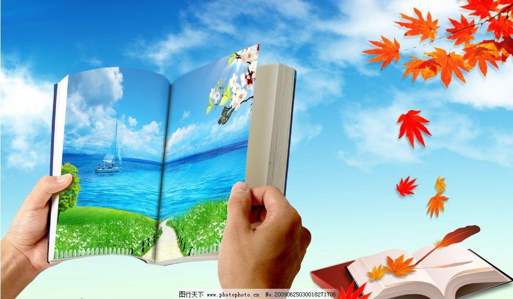 海滩 大海 习毛 书 手捧书 草地 船 花 蝴蝶 枫叶 学校展板 蓝天白云