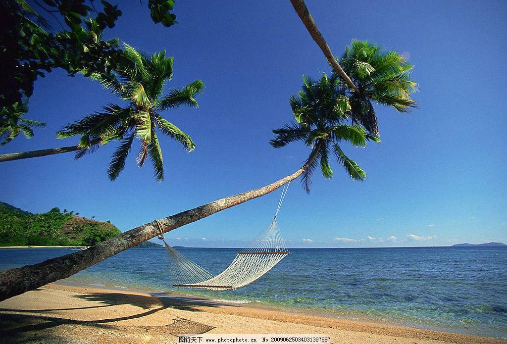 斐濟海邊吊床 海邊 吊床 椰子樹 海灘 旅游攝影 國外旅游 攝影圖庫