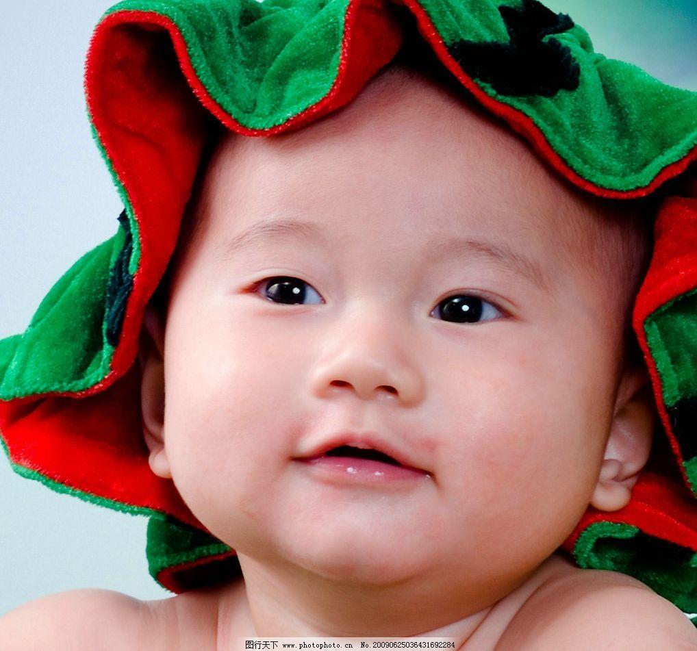 可爱半岁幼儿摄影 胖bb 头部特写 西瓜帽子 人物图库 儿童幼儿 摄影图