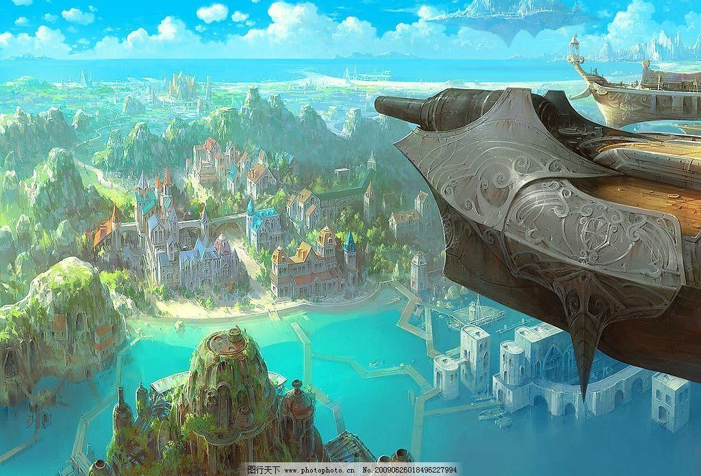 岛屿 飞船 空岛 城市 山脉 海湾 海 动漫动画 风景漫画 设计图库 72