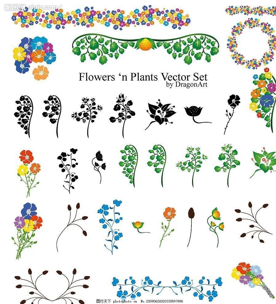 花边元素矢量素材 牵牛花 梦幻 线条 藤蔓 柔和 植物 花朵 花卉
