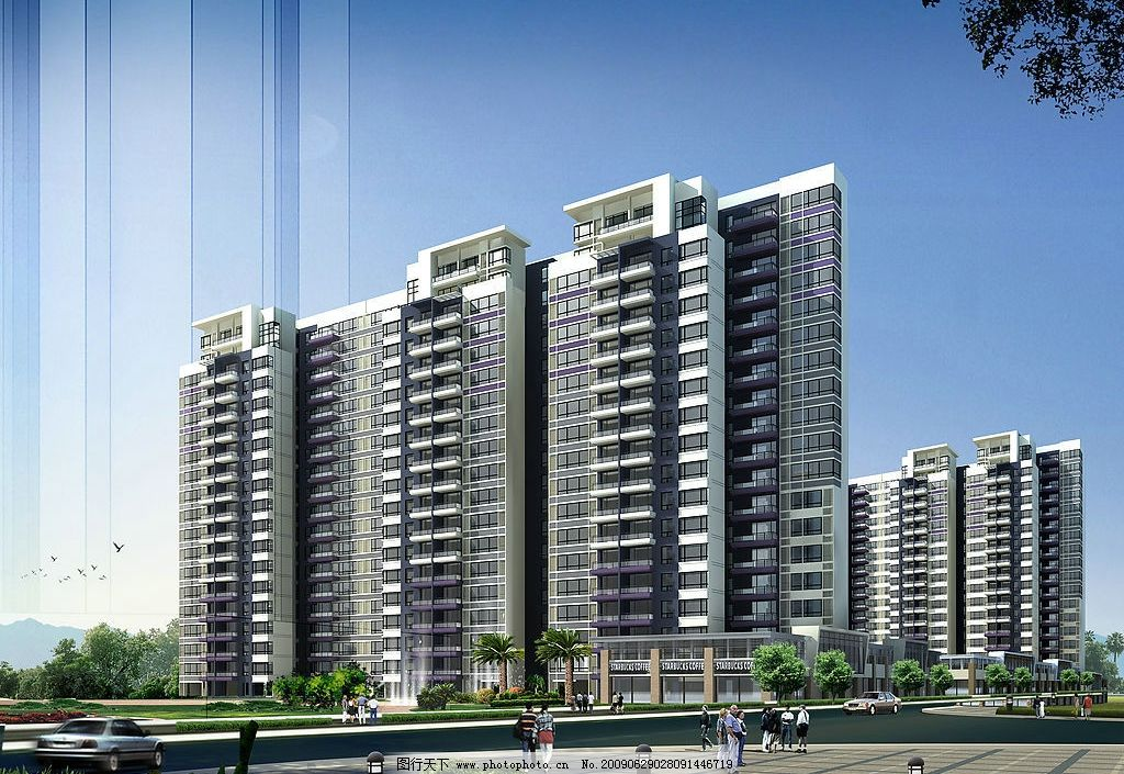 高层公寓 地产效果图 瑜翠园 地产 洋房 公寓 建筑 建筑设计 房屋
