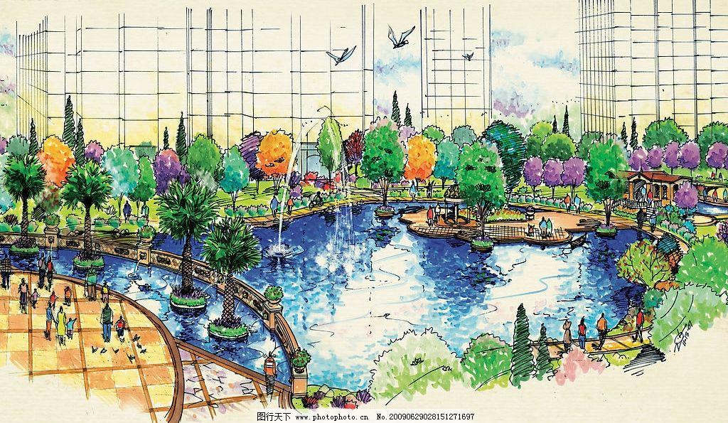 手绘景观 湖 房地产 喷泉 园林