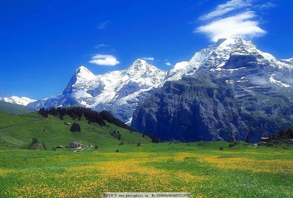 美丽风景 蓝天 白云 云层 天空 树木 高山 景色 山峰 花草图片