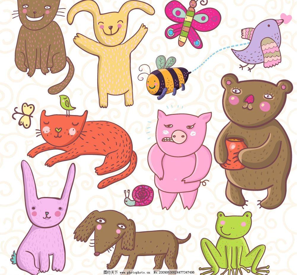 可爱动物卡通儿童画造型图片