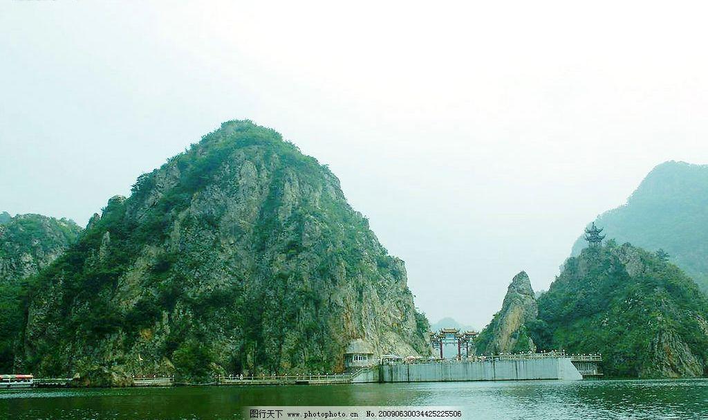 蓝天 绿山 湖水 湖光倒影 自然景观 山水风景 摄影图库 大连风景 150