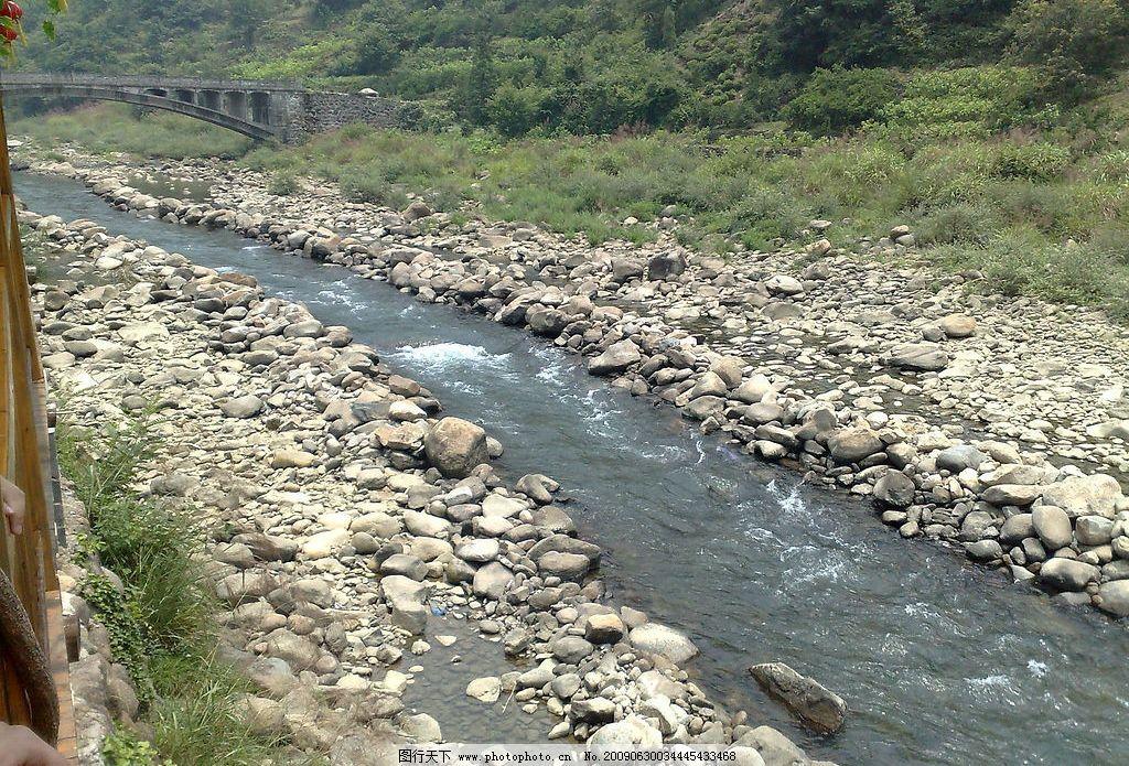 小溪 溪水 石头 草 桥 漂流小溪 水 河流 自然景观 山水风景 摄影图库