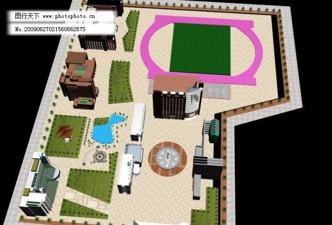 3D设计模型,max,传统建筑,俯视图,建筑家居,矢量图库,室外模型